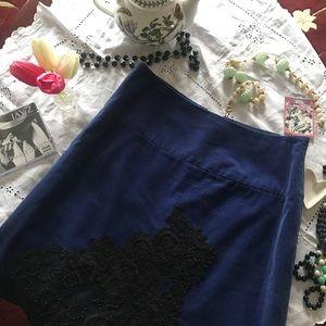 Anthropologie Velvet Lace Skirt
